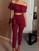 billige Todelt dress til damer-Dame Tynn T-skjorte Bukse Ensfarget Annen Båthals