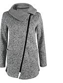 cheap Women's Blazers & Jackets-Women's Going out / Work Sophisticated Fall / Winter Regular Coat, Solid Colored Notch Lapel Long Sleeve Rayon Gray XXXL / XXXXL / XXXXXL