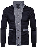 cheap Men's Sweaters & Cardigans-Men's Daily / Work Solid Colored Long Sleeve Regular Cardigan, V Neck Spring / Fall Navy Blue / Wine / Light gray L / XL / XXL