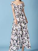 baratos Vestidos de Coquetel-Mulheres Para Noite Algodão Chifon Vestido Floral Decote Canoa Cintura Alta Longo