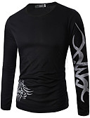 cheap Fashion Belts-Men's Casual Cotton T-shirt Print Round Neck / Long Sleeve
