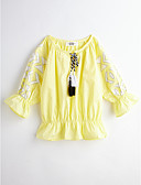 cheap Girls' Clothing-Girls' Solid Colored Long Sleeve Cotton Blouse Yellow 2-3 Years(100cm)