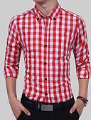 זול חולצות לגברים-אחיד קולור בלוק צווארון קלאסי כותנה, חולצה - בגדי ריקוד גברים