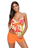 رخيصةأون لانجيري للنساء-برتقالي زهري ملابس السباحة ثلاثة قطع طباعة نساء