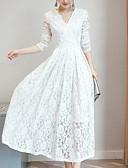 hesapli Kadın Elbiseleri-Kadın's Kılıf Dantel Elbise - Solid, Dantel V Yaka Maksi