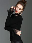 baratos Tops Femininos-Mulheres Camiseta - Feriado / Para Noite Vintage / Moda de Rua / Sofisticado Sólido Algodão