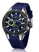 cheap Dress Watches-Men's Sport Watch Chinese Calendar / date / day / Chronograph / Water Resistant / Water Proof Silicone Band Luxury / Casual / Fashion Black / Blue / Stainless Steel