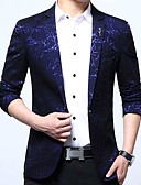 cheap Men's Polos-Men's Daily Simple / Casual / Chinoiserie Fall / Winter Regular Blazer V Neck Long Sleeve Cotton Print Blue / Black / Wine XL / XXL / XXXL