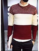 זול סוודרים וקרדיגנים לגברים-מבוגרים XL / XXL / XXXL שחור / כחול נייבי / יין צווארון עגול אביב / חורף אחרים, סוודר רגיל שרוול ארוך קולור בלוק יומי בגדי ריקוד גברים