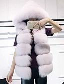 cheap Women's Fur Coats-Women's Daily Sophisticated Winter Fall Regular Fur Coat, Solid Hooded Fox Fur