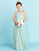cheap Junior Bridesmaid Dresses-A-Line / Princess Halter Neck Floor Length Chiffon Junior Bridesmaid Dress with Sash / Ribbon / Pleats by LAN TING BRIDE® / Wedding Party / Open Back