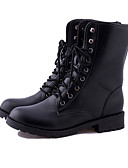 cheap Women's Sweaters-Women's Shoes PU(Polyurethane) Winter Combat Boots Boots Flat Heel Booties / Ankle Boots Black