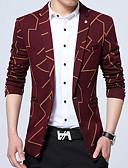 cheap Men's Ties & Bow Ties-Men's Plus Size Blazer-Geometric / Long Sleeve / Work