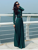 cheap Women's Dresses-Women's Going out Beach Holiday Boho Street chic Sheath Maxi Dress,Solid Crew Neck Long Sleeves High Rise