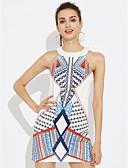 preiswerte Damen Kleider-Damen Ausgehen Hülle Kleid Einfarbig Übers Knie Hohe Hüfthöhe Weiß
