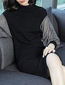 tanie Sukienki-Damskie Rozmiar plus Moda miejska Bawełna Latarnia rękawem Dzianina Sukienka - Wielokolorowa, Rozcięcie Do kolan / Jesień / Zima
