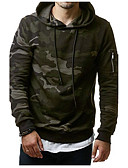 cheap Men's Swimwear-Men's Plus Size Sports Active / Boho / Military Long Sleeve Hoodie - Camouflage, Print Hooded