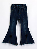 cheap Boys' Clothing-Girls' Solid Jeans, Cotton Fall Blue