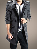 olcso Férfi dzsekik és kabátok-Vékony Férfi Hosszú Ballonkabát - Egyszínű Műszőrme