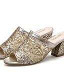 preiswerte Damen Kleider-Damen Schuhe PU Frühling / Sommer Neuheit Sandalen Blockabsatz Runde Zehe / Peep Toe Paillette / Ausgehöhlt Gold / Silber