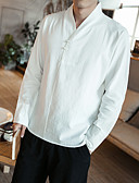 cheap Men's Shirts-Men's Chinoiserie Plus Size Cotton Shirt - Solid Colored / Long Sleeve