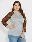 levne Tričko-Dámské - Leopard Denní / Jdeme ven Šik ven Větší velikosti Tričko / Jaro / Podzim