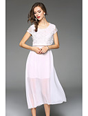 hesapli Maksi Elbiseler-Kadın's Büyük Bedenler Dışarı Çıkma / Tatil Dantel / Şifon Elbise - Solid Maksi