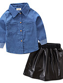 tanie Zestawy ubrań dla dziewczynek-Brzdąc Dla dziewczynek Elegancka odzież Solidne kolory / Kolorowy blok Długi rękaw Regularny Regularny Bawełna / Poliester Komplet odzieży Czarny 100
