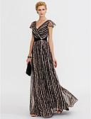 baratos Vestidos de Noite-Linha A Decote V Longo Chiffon / Renda Evento Formal Vestido com Estampa / Faixa / Fita de TS Couture®