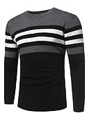 cheap Men's Sweaters & Cardigans-Men's Weekend Street chic Long Sleeve Cashmere Slim Pullover - Solid Colored / Striped / Color Block Round Neck