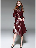 cheap Women's Dresses-Women's Going out Street chic Long Trench Coat - Solid Colored Shirt Collar
