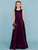 cheap Junior Bridesmaid Dresses-A-Line Jewel Neck Floor Length Satin Junior Bridesmaid Dress with Sash / Ribbon by LAN TING BRIDE® / Wedding Party / Open Back