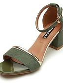 ieftine Rochii Damă-Pentru femei Pantofi PU Primăvară / Toamnă Tălpi cu Lumini Sandale Blocați călcâiul Vârf deschis Cataramă Negru / Verde Militar / Kaki
