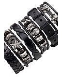 cheap Men's Shirts-Men's Layered Leather Bracelet - Leather Skull, Star Punk, Hip-Hop Bracelet Black For Stage / Club