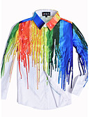 cheap Men's Hoodies & Sweatshirts-Men's Club Punk & Gothic Street chic Plus Size Slim Shirt - Color Block Rainbow