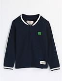 baratos Camisas para Meninos-Para Meninos Blusa Sólido Outono Algodão Manga Longa Azul Marinha