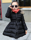 cheap Girls' Jackets & Coats-Girls' Patchwork Long Sleeve Long Polyester Down & Cotton Padded Black