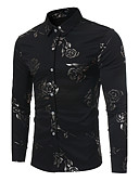cheap Men's Shirts-Men's Slim Shirt - Floral Print Classic Collar / Long Sleeve