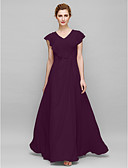 cheap Mother of the Bride Dresses-Sheath / Column V Neck Floor Length Chiffon Mother of the Bride Dress with Appliques / Criss Cross by LAN TING BRIDE®