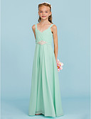 cheap Junior Bridesmaid Dresses-Sheath / Column Straps Floor Length Chiffon Junior Bridesmaid Dress with Criss Cross / Crystal Brooch by LAN TING BRIDE® / Wedding Party / Open Back