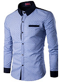 cheap Men's Shirts-Men's Active Shirt - Polka Dot Standing Collar