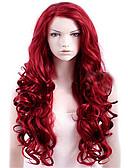 halpa Sukat ja sukkahousut-Synteettiset peruukit Runsaat laineet Synteettiset hiukset Punainen Peruukki Naisten Pitkä Suojuksettomat tumma viini