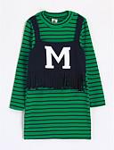 cheap Girls' Clothing-Girls' Stripes Striped Long Sleeve Long Cotton Blouse Green 2-3 Years(100cm)