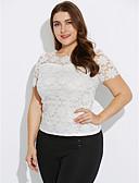 billige T-skjorter til damer-Polyester Store størrelser Bluse - Ensfarget, Blonde Dame