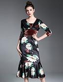 baratos Vestidos Femininos-Mulheres Bainha Vestido Floral Decote V Médio