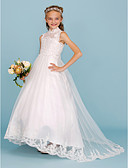 cheap Junior Bridesmaid Dresses-Ball Gown High Neck Sweep / Brush Train Lace / Satin Junior Bridesmaid Dress with Beading / Appliques by LAN TING BRIDE® / Wedding Party