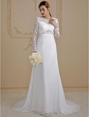 cheap Wedding Dresses-A-Line Illusion Neck Court Train Chiffon / Lace Made-To-Measure Wedding Dresses with Lace / Lace-up by LAN TING BRIDE® / Illusion Sleeve