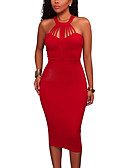 cheap Men's Sweaters & Cardigans-Women's Party / Club Bodycon Dress - Solid Colored Red, Cut Out High Rise Halter Neck / Summer / Fall / Skinny