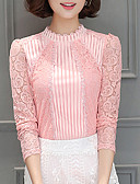 cheap Women's Blouses-Women's Polyester Blouse - Solid, Lace Stand