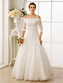 cheap Wedding Dresses-A-Line Off Shoulder Floor Length Lace / Tulle / Lace Over Tulle Made-To-Measure Wedding Dresses with Beading / Ruched by LAN TING BRIDE®
